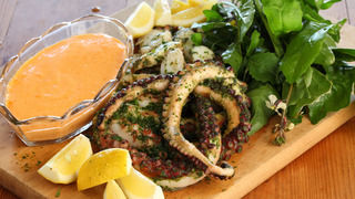 Grilled Octopus in Herb Paste with Rouille