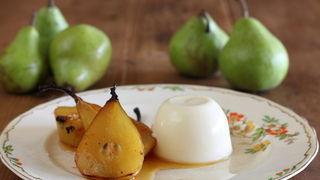 Saffron Roasted Pears with Verjuice Panna Cotta