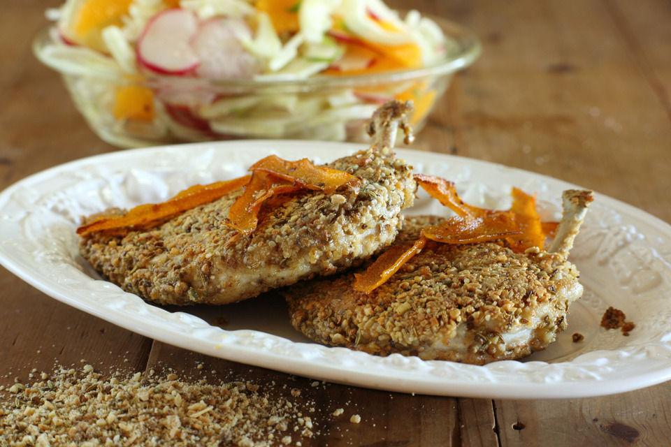 Dukkah Crumbed Chook Breast with Fennel, Radish and Orange Salad ...