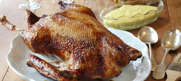Roast goose with apple, onion and sage stuffing