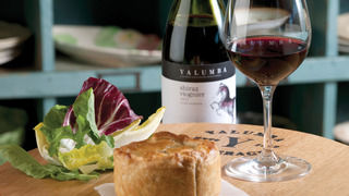 Barossa Chook and Mushroom Pie with Salad Greens and Traditional Tomato Sauce