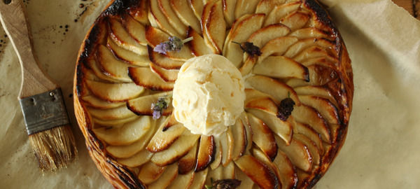 Fine Apple Tart with Honey and Lavender Ice Cream